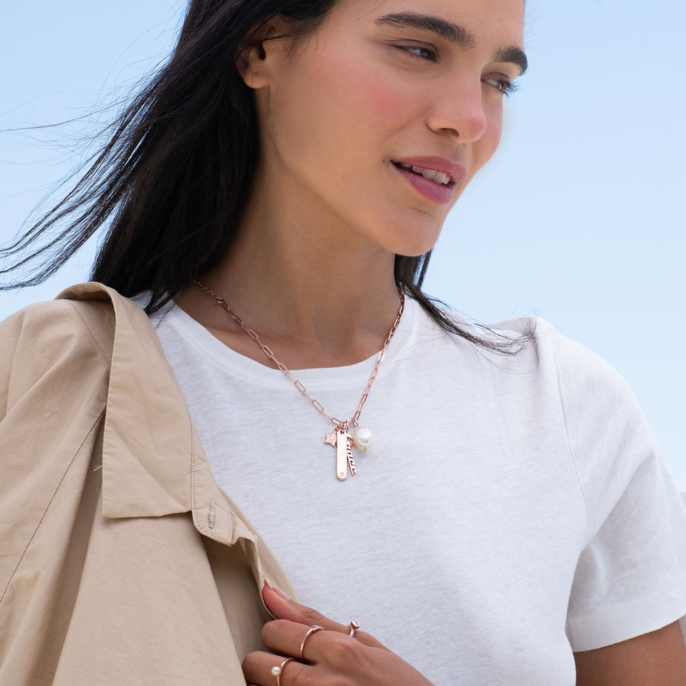 Siena Chain Bar Necklace in 18k Rose Gold Plating - 2
