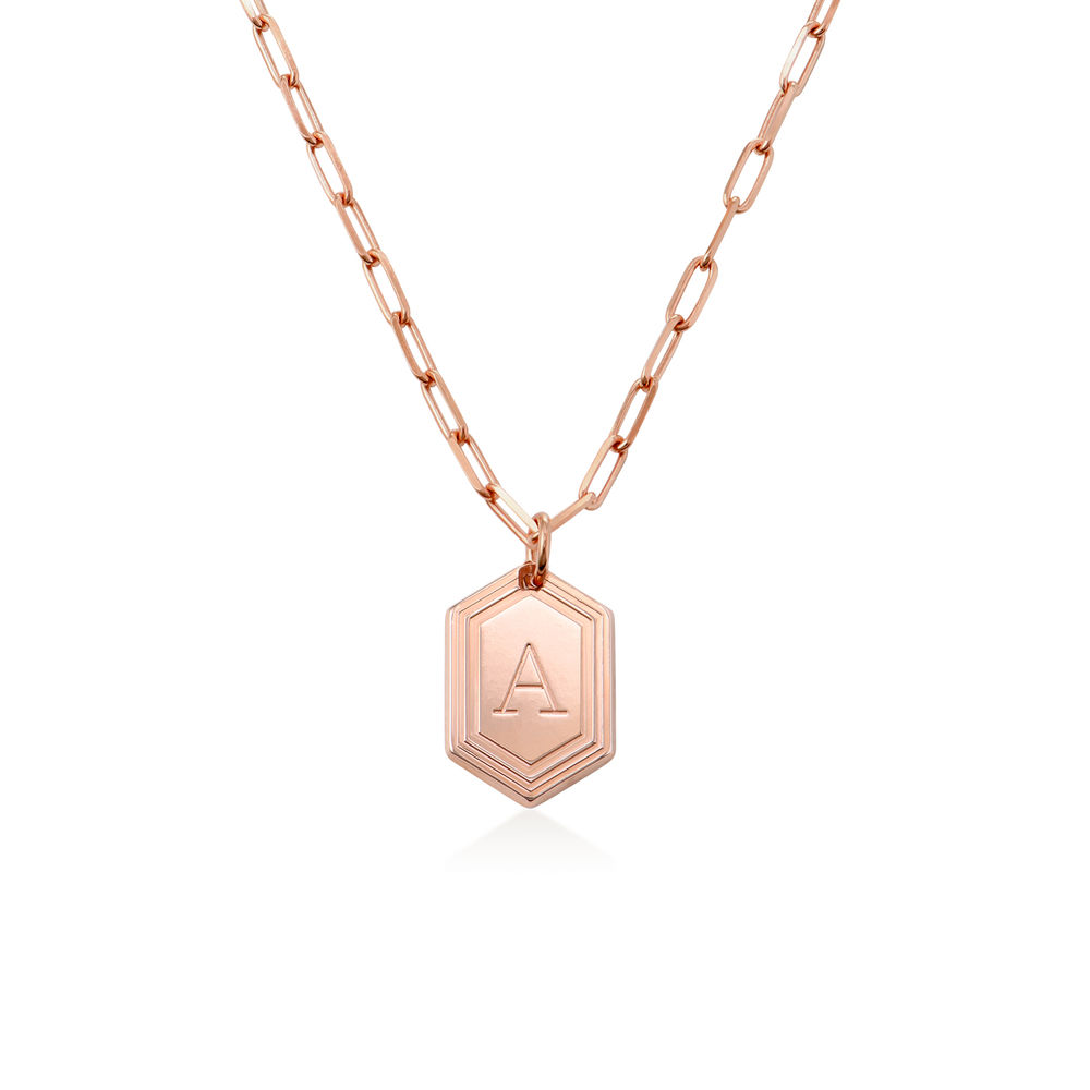 Cupola Link Chain Necklace in 18k Rose Gold Plating