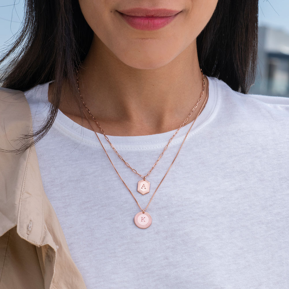 Cupola Link Chain Necklace in 18k Rose Gold Plating - 1