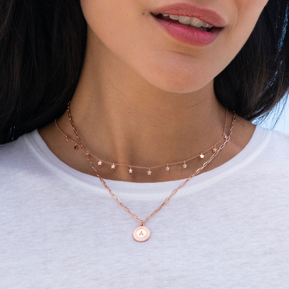 Odeion Initial Necklace in 18k Rose Gold Plating - 1