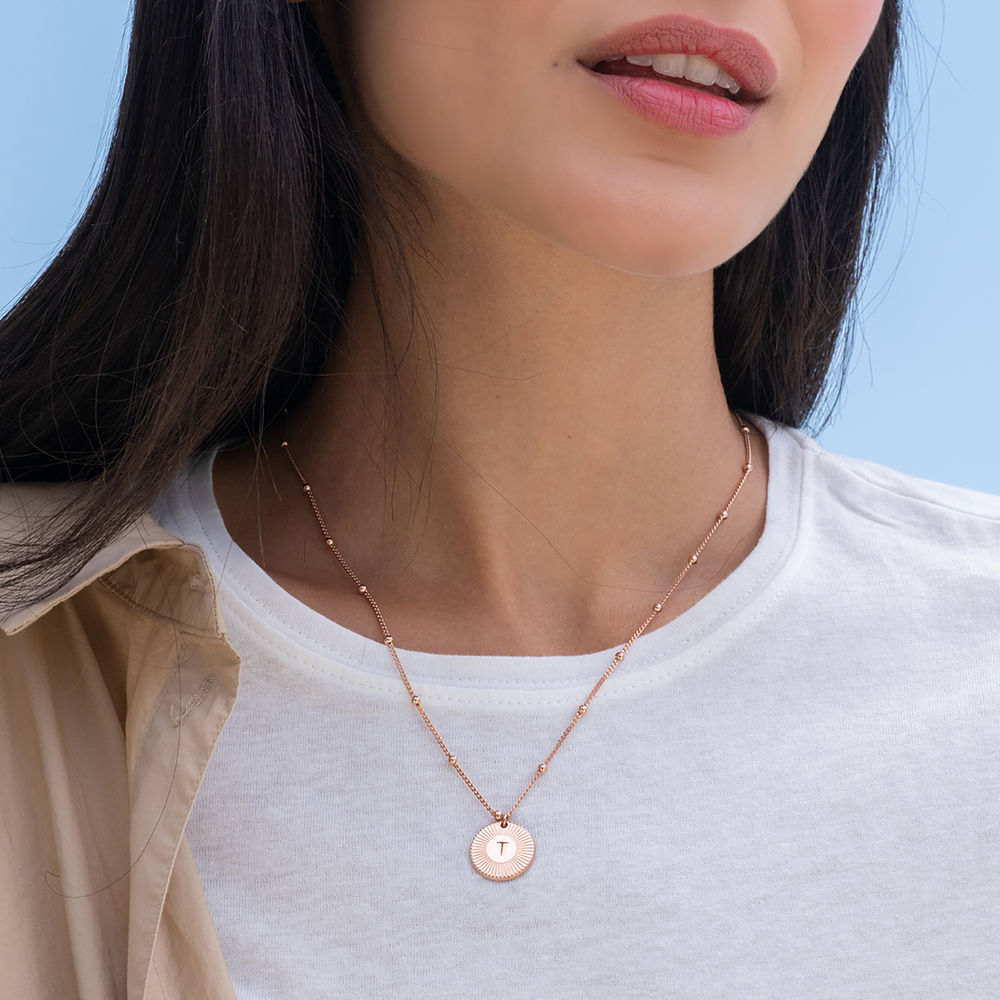Rayos Initial Necklace in 18K Rose Gold Plating - 1