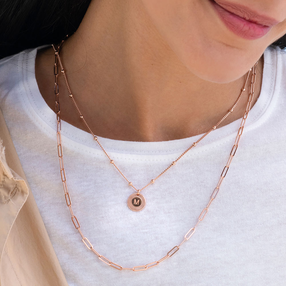 Mini Rayos Initial Necklace in 18k Rose Gold Plating - 1