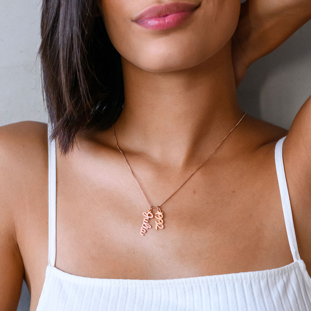Vertical Name Necklace in Cursive in Rose Gold Plated - 2