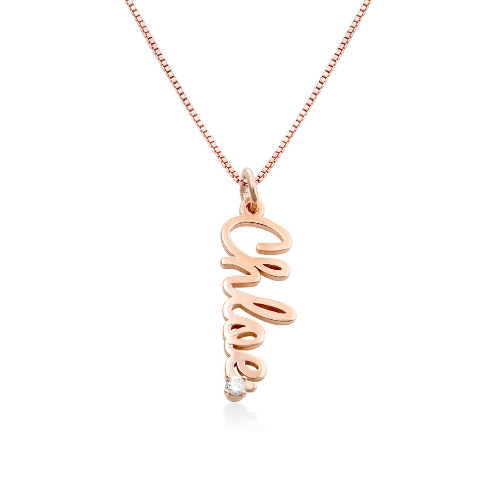 Vertical Diamond Name Necklace in Cursive in Rose Gold Plating
