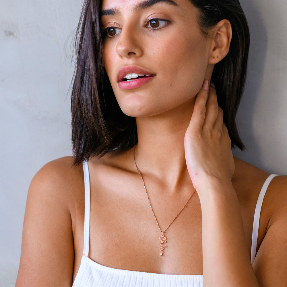 Vertical Diamond Name Necklace in Cursive in Rose Gold Plating - 2