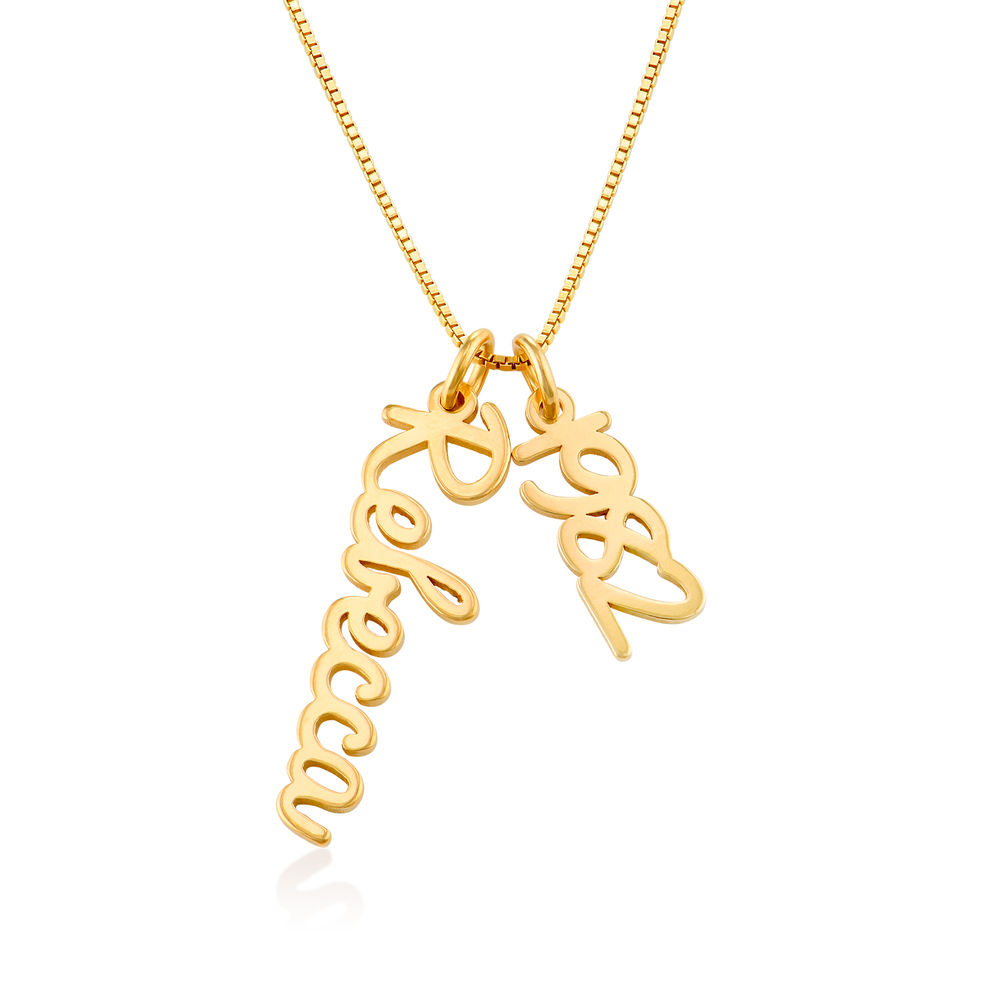 Vertical Name Necklace in Cursive in Gold Vermeil