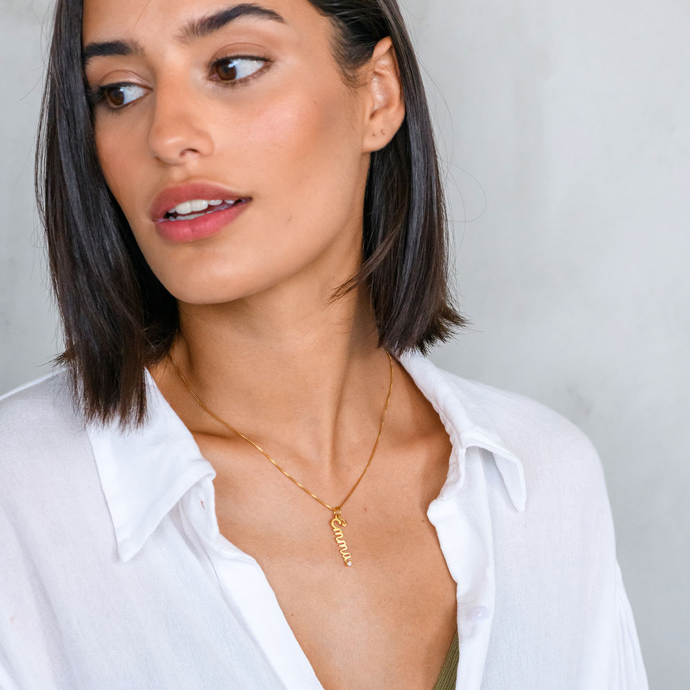Vertical Diamond Name Necklace in Cursive in Gold Vermeil - 2