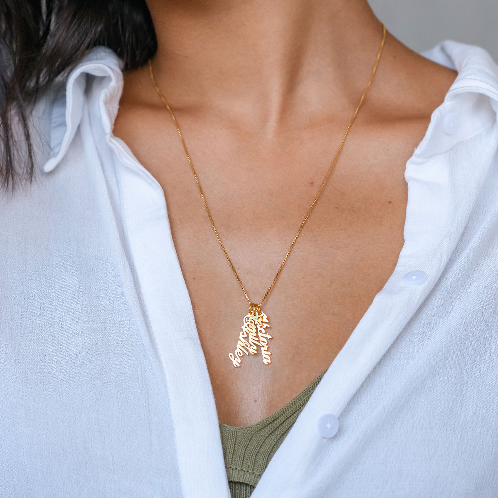 Vertical Name Necklace in Gold Plated - 3
