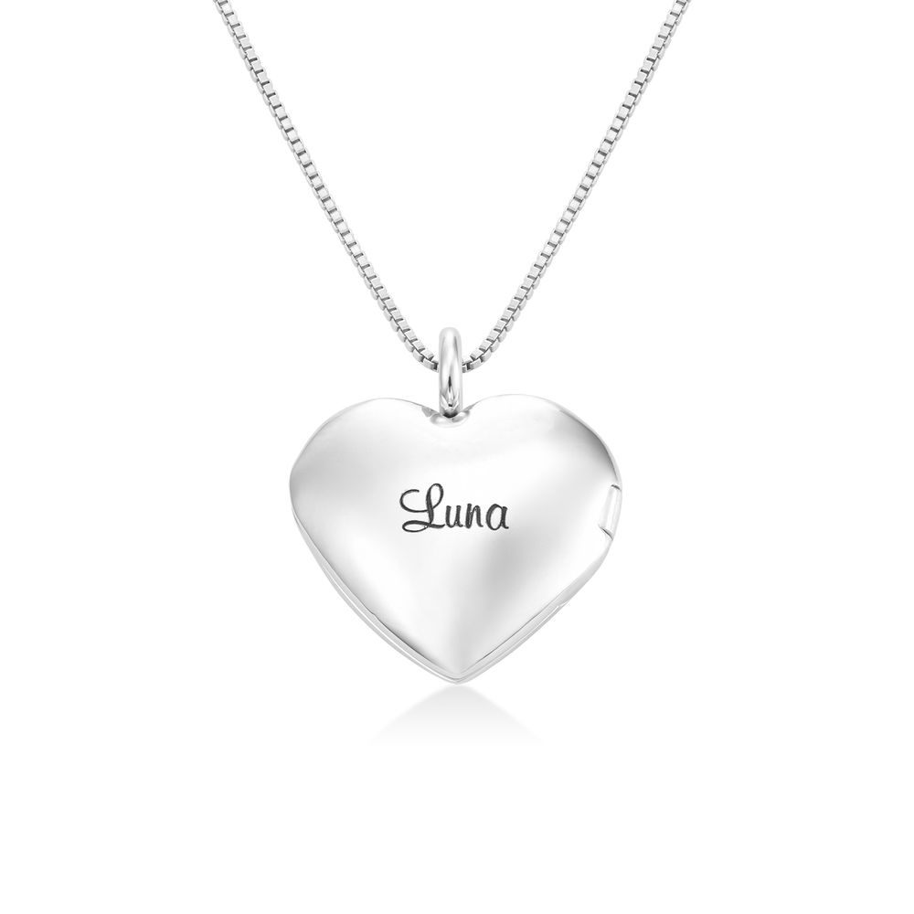 Heart Pendant Necklace with Engraving in Sterling Silver
