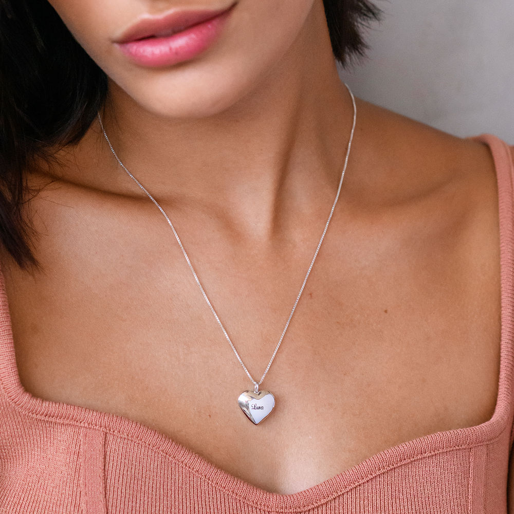 Heart Pendant Necklace with Engraving in Sterling Silver - 2