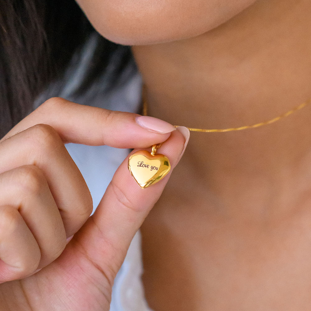 Heart Pendant Necklace with Engraving in Gold Plated - 2