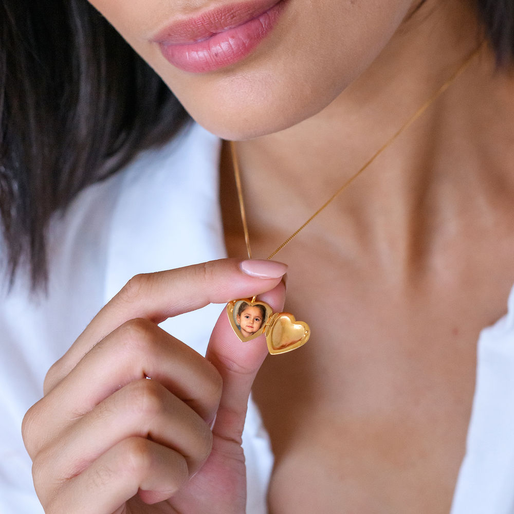 Heart Pendant Necklace with Engraving in Gold Plated - 4