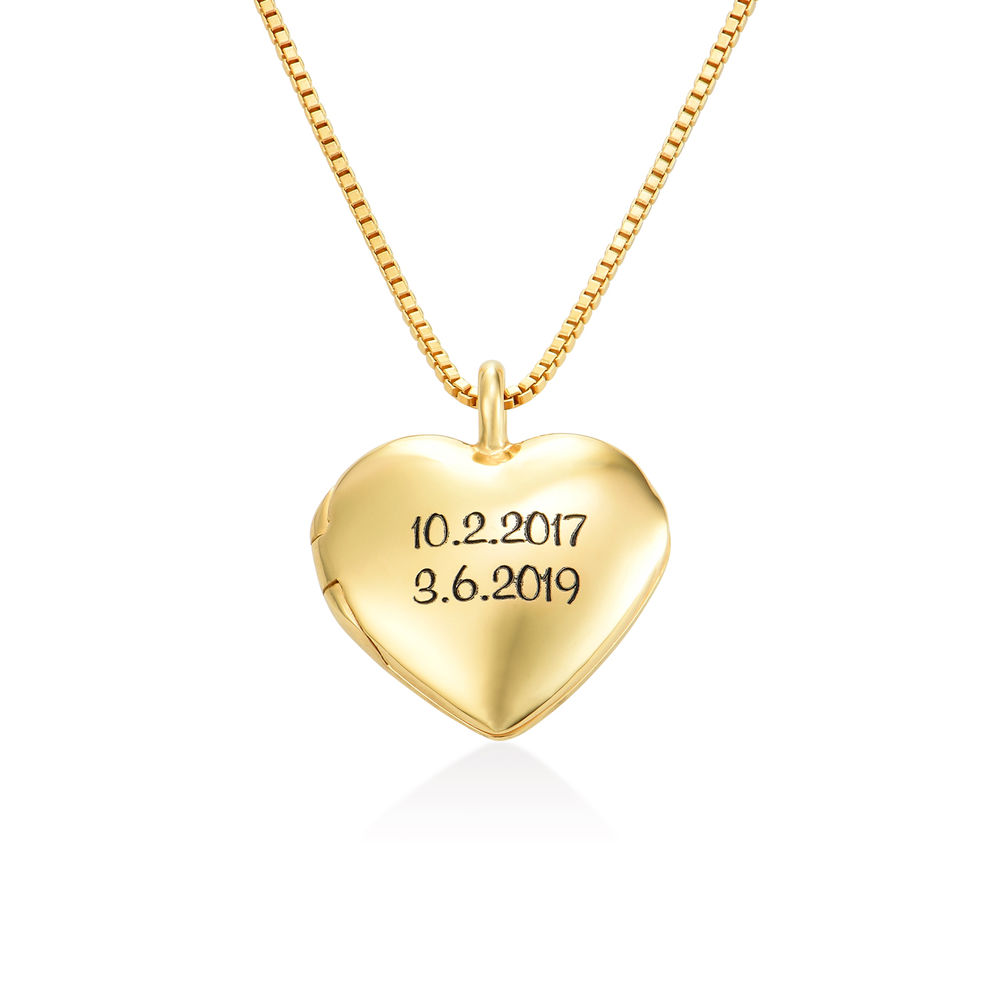 Heart Pendant Necklace with Engraving in Gold Vermeil - 1