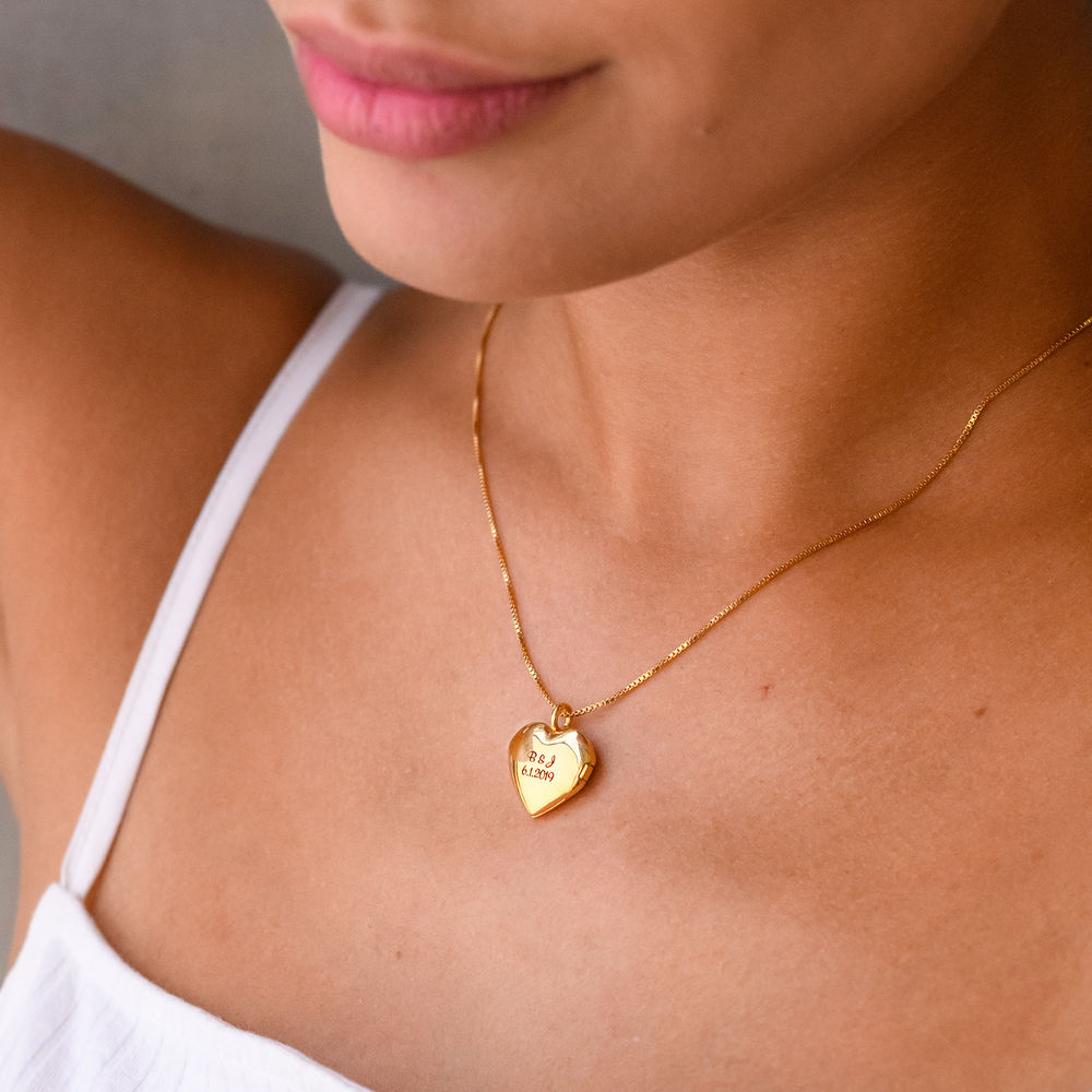 Heart Pendant Necklace with Engraving in Gold Vermeil - 2