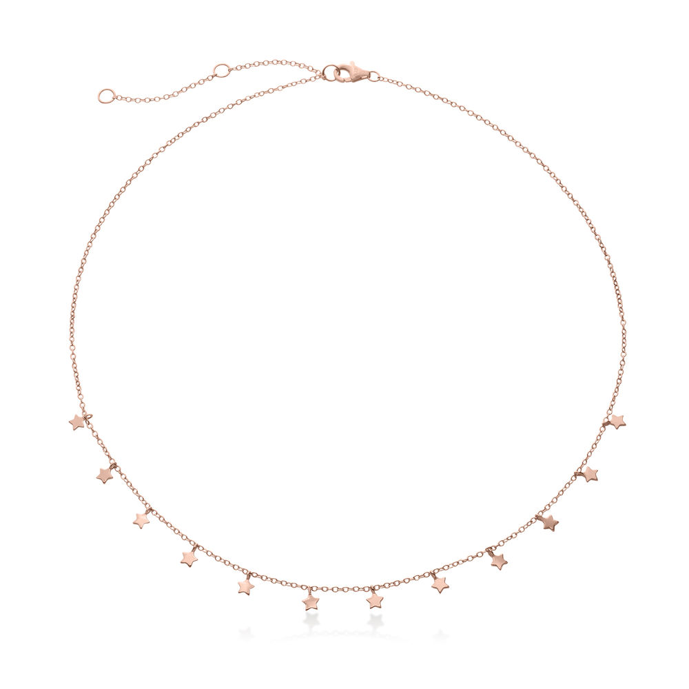 Star Choker Necklace in Rose Gold Plating - 1