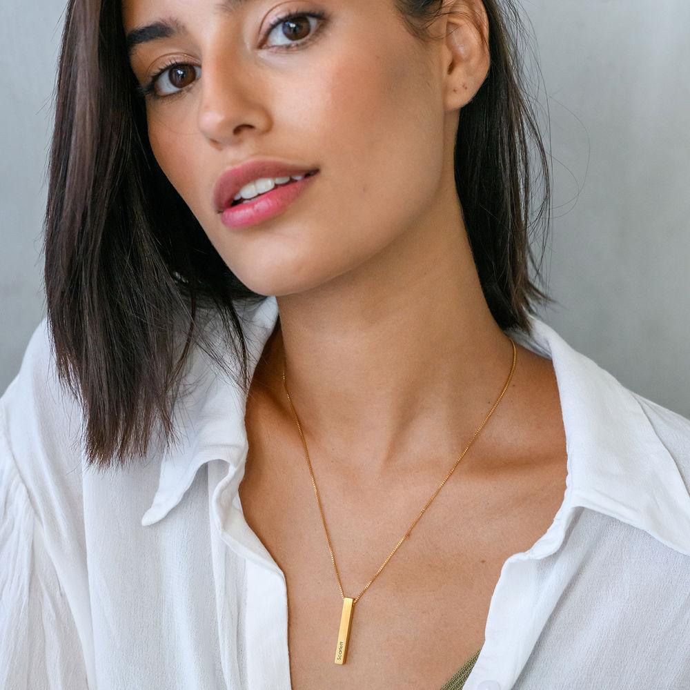 Custom 3D Bar Necklace Matte - Gold Plated - 3
