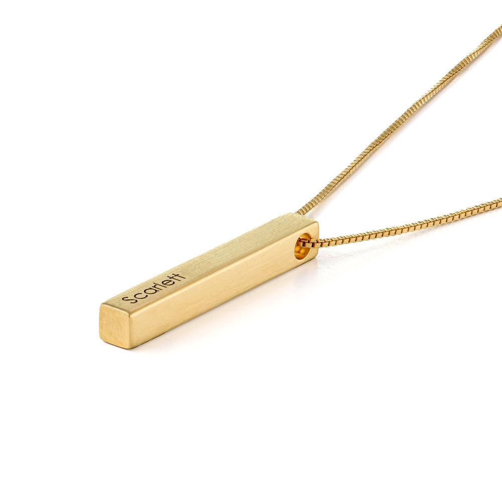 Custom 3D Bar Necklace Matte in Gold Vermeil - 1