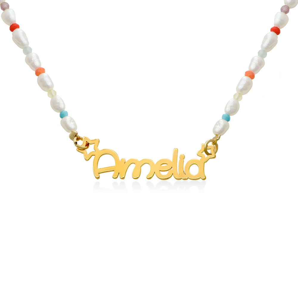 Pearl Candy Girls Name Necklace in Gold Plating