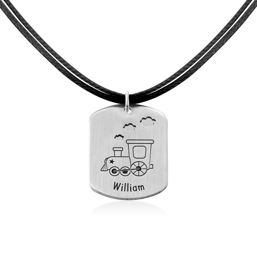 Train Personalized Dog Tag in Sterling Silver - 2