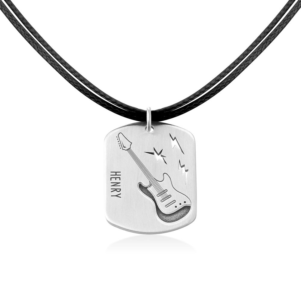 Guitar Custom Dog Tag in Sterling Silver