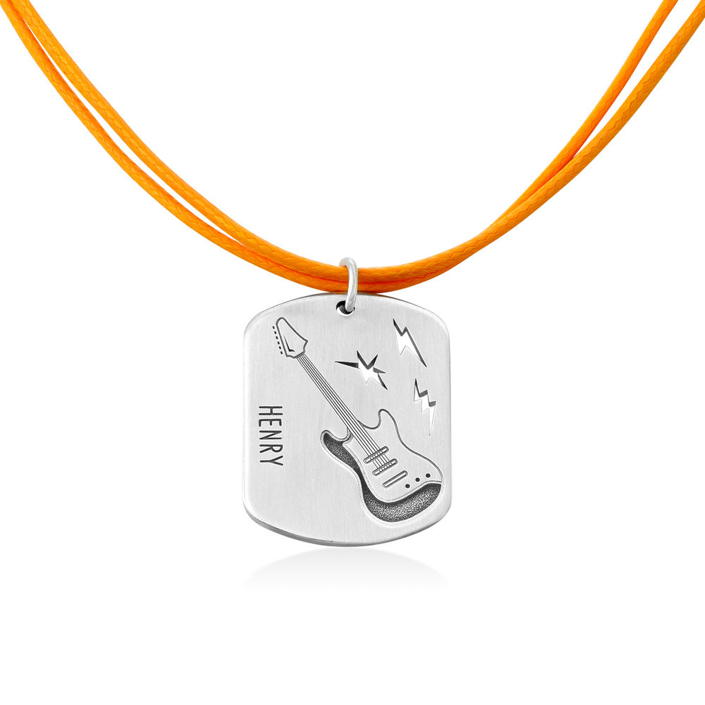 Guitar Custom Dog Tag in Sterling Silver - 1