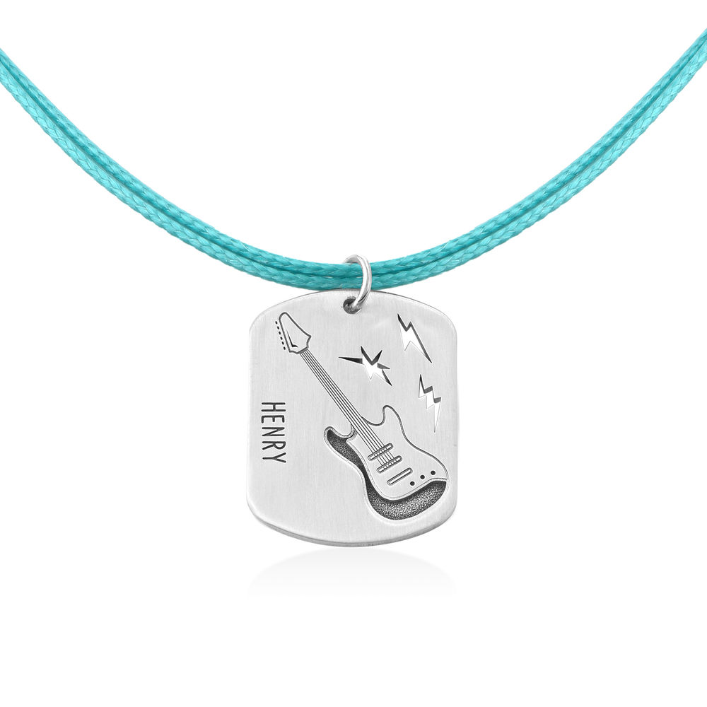Guitar Custom Dog Tag in Sterling Silver - 2