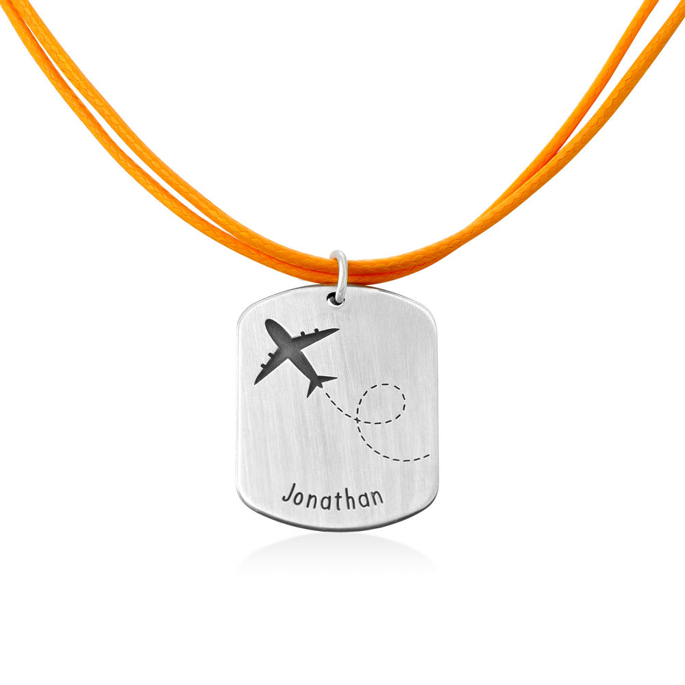 Airplane Personalized Dog Tag in Sterling Silver - 1