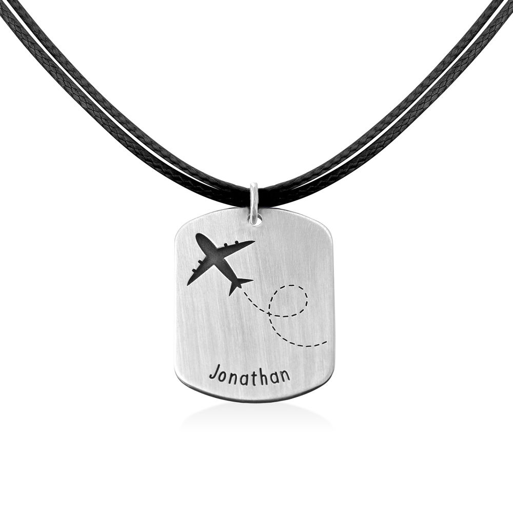 Airplane Personalized Dog Tag in Sterling Silver - 2