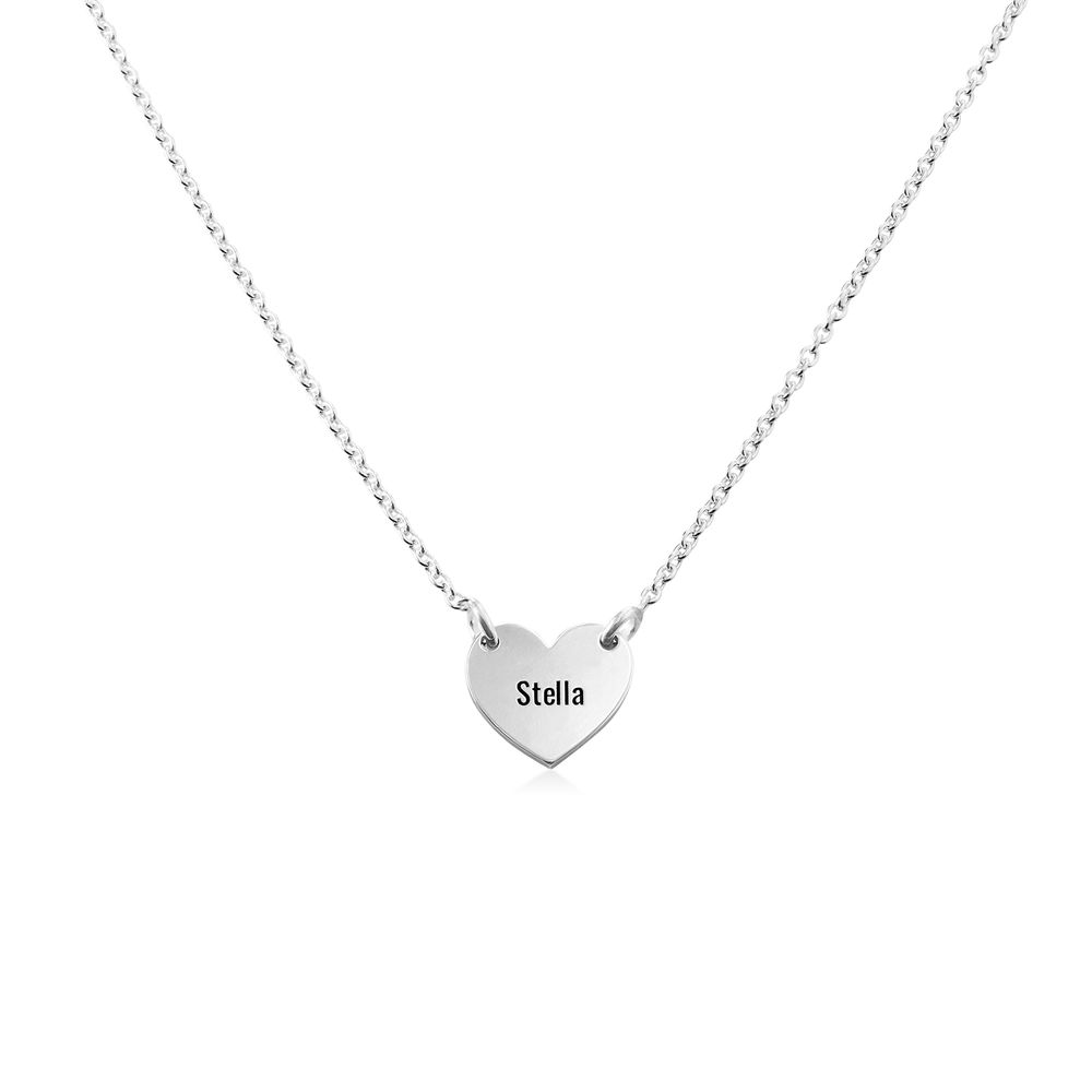 Engraved Heart Necklace for Girls in Silver