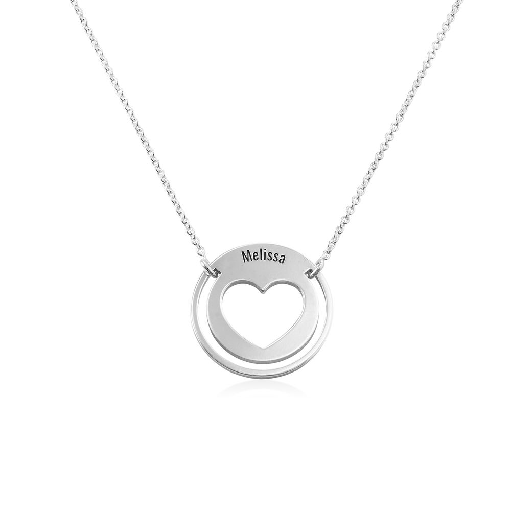 Engraved Heart Necklace for Mom in Silver
