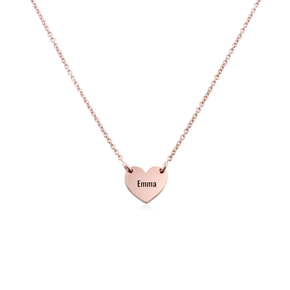 Engraved Heart Necklace for Girls in 18K Rose Gold Plating