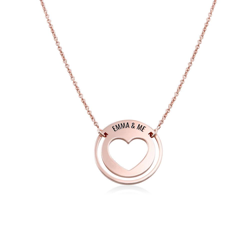 Engraved Heart Necklace for Mom in 18K Rose Gold Plating