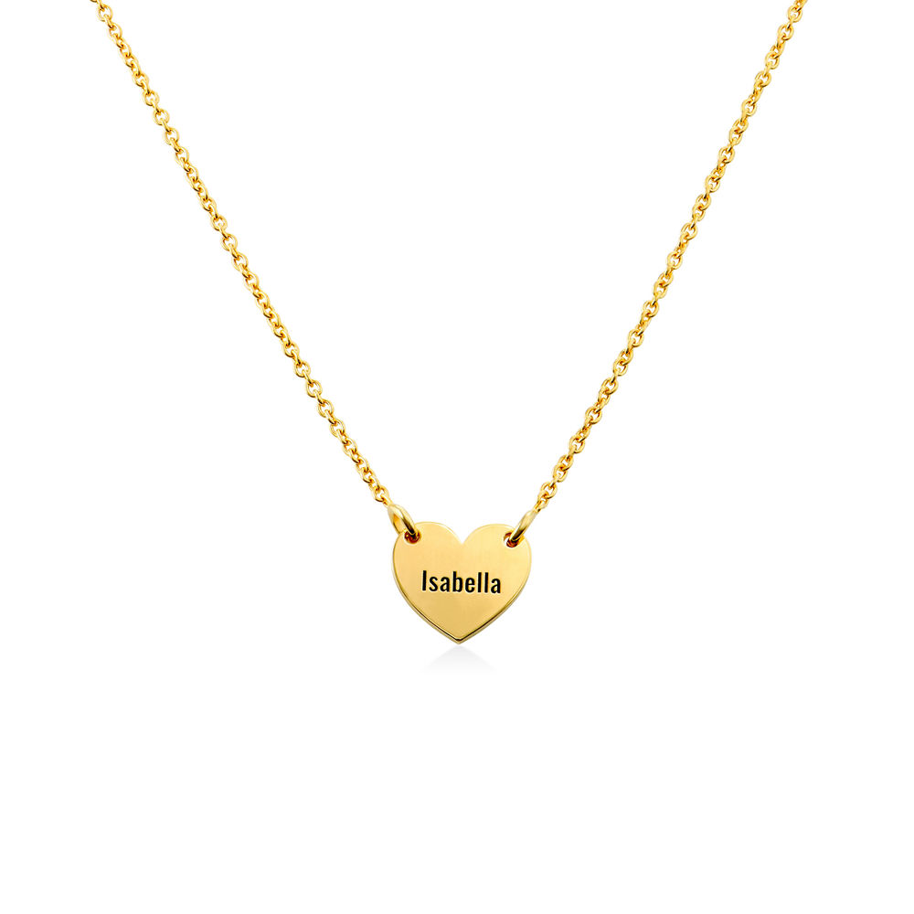 Engraved Heart Necklace for Girls in Gold Vermeil