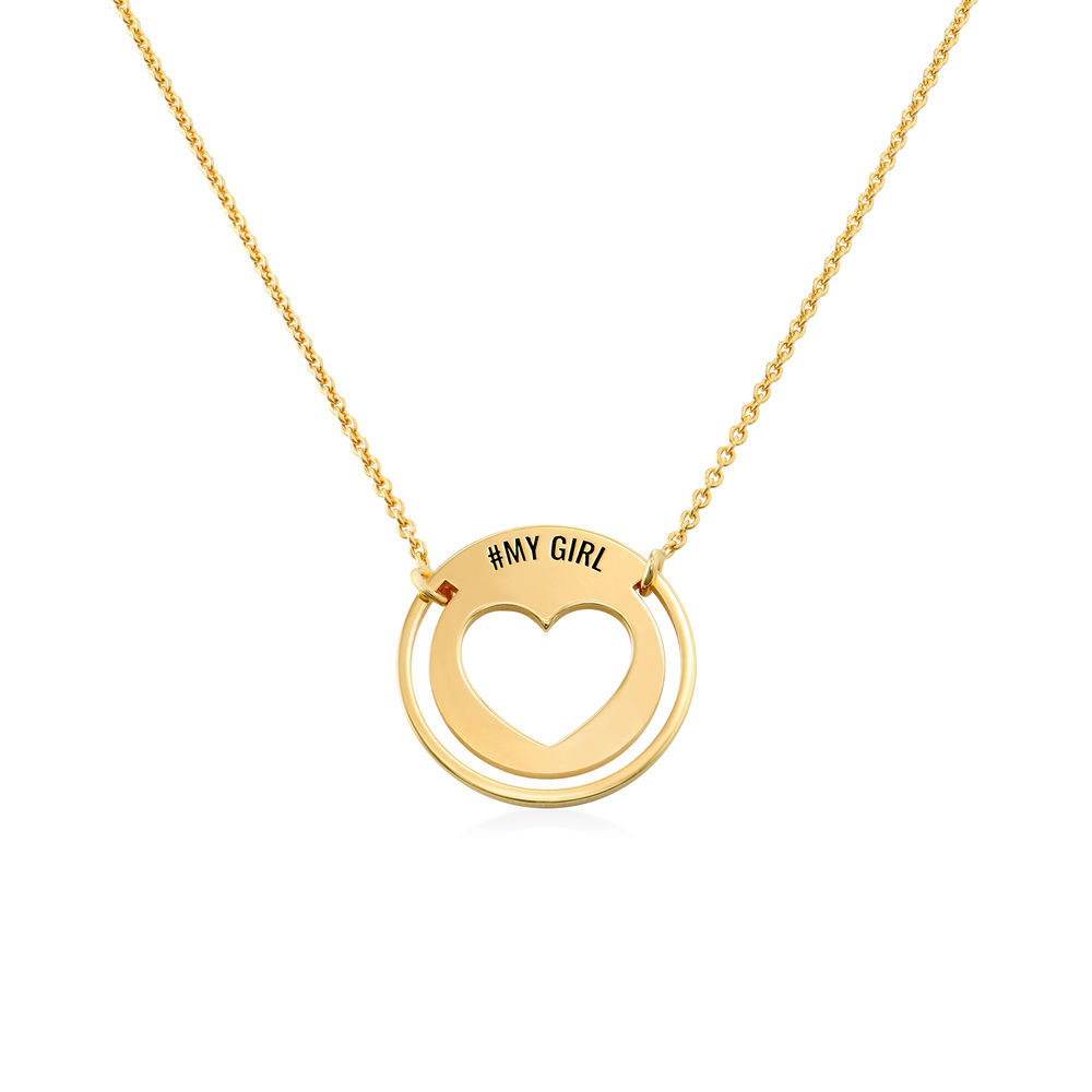 Engraved Heart Necklace for Mom in Gold Vermeil