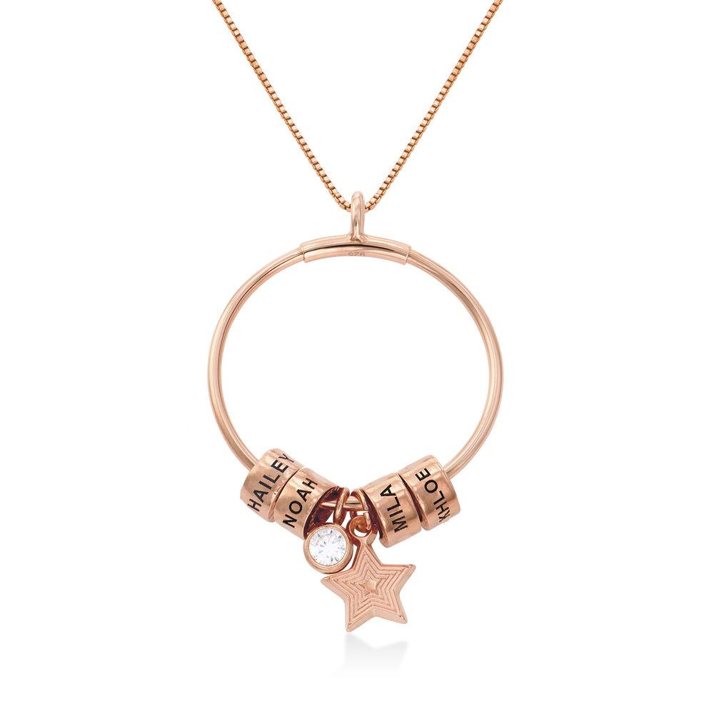 Large Linda Circle Pendant Necklace in Rose Gold Plating - 1