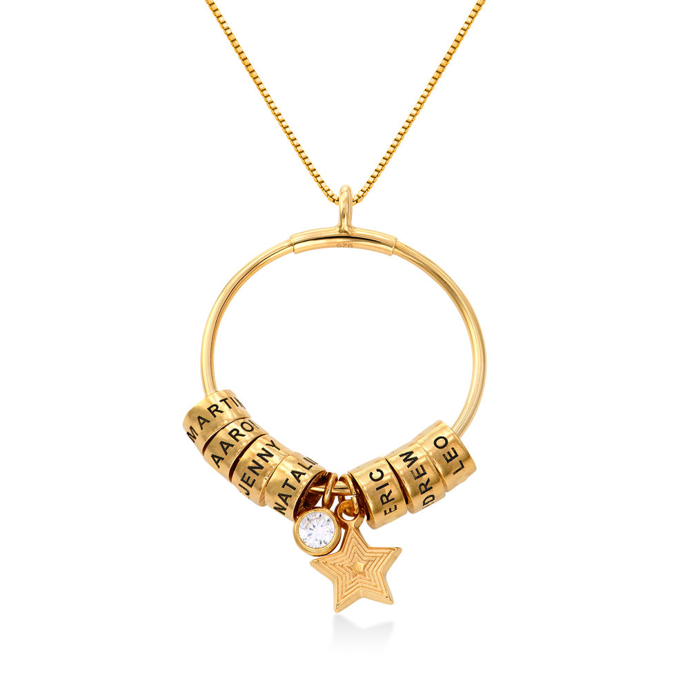 Large Linda Circle Pendant Necklace in Gold Vermeil with Diamond