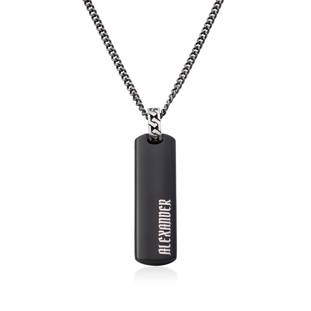 3D Engraved Bar Necklace For Men