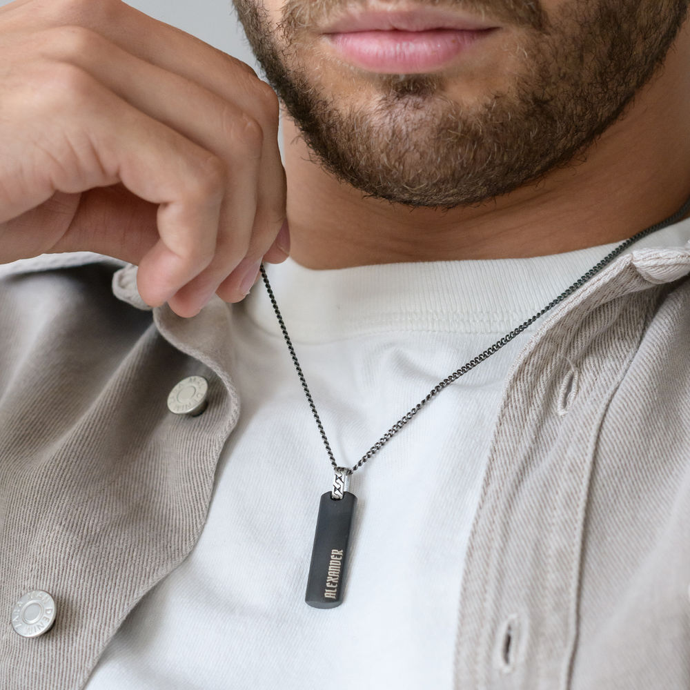 3D Engraved Bar Necklace For Men - 1