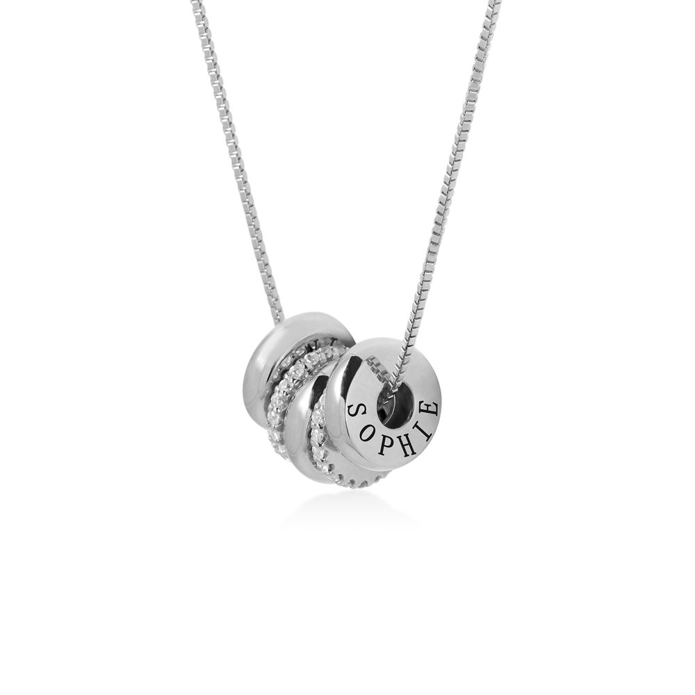 Custom Engraved Beads Necklace in Sterling Silver