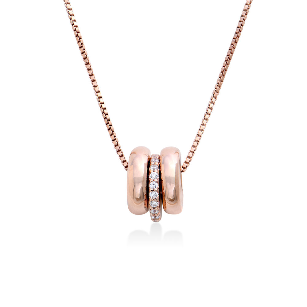 Custom Engraved Beads Necklace in Rose Gold Plating - 1