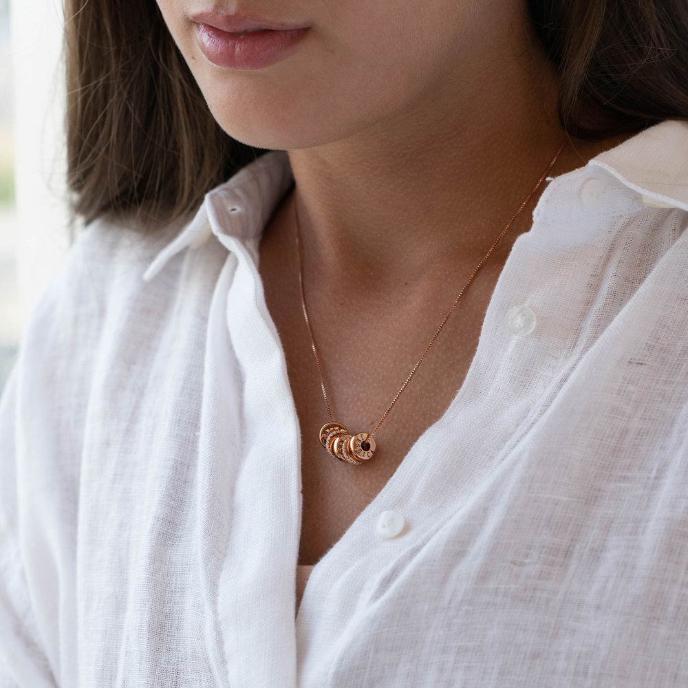 Custom Engraved Beads Necklace in Rose Gold Plating - 2