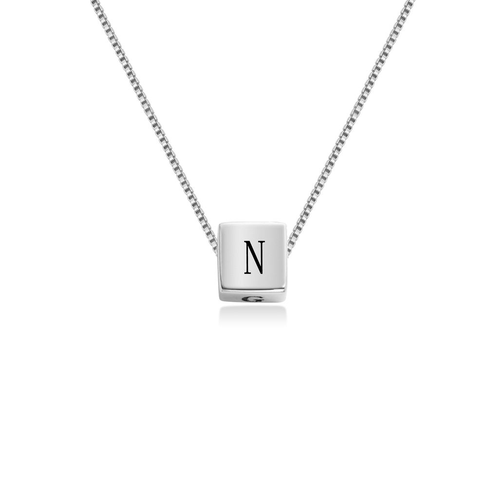 Blair Initial Cube Necklace in Sterling Silver