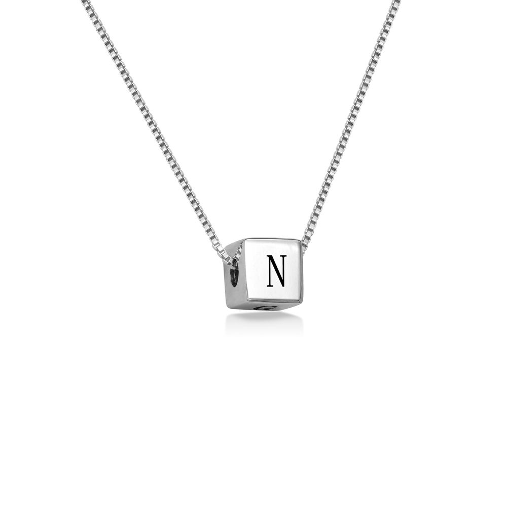 Blair Initial Cube Necklace in Sterling Silver - 1