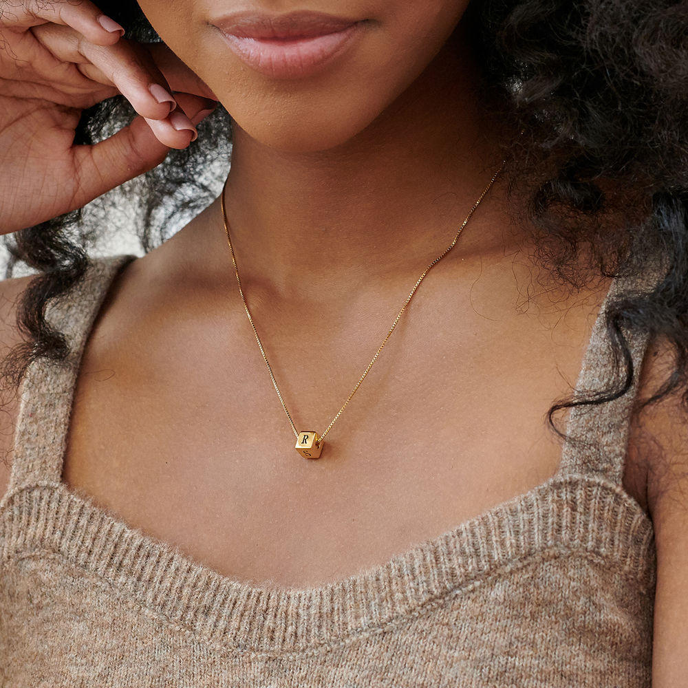 Blair Initial Cube Necklace in Gold Plating - 3