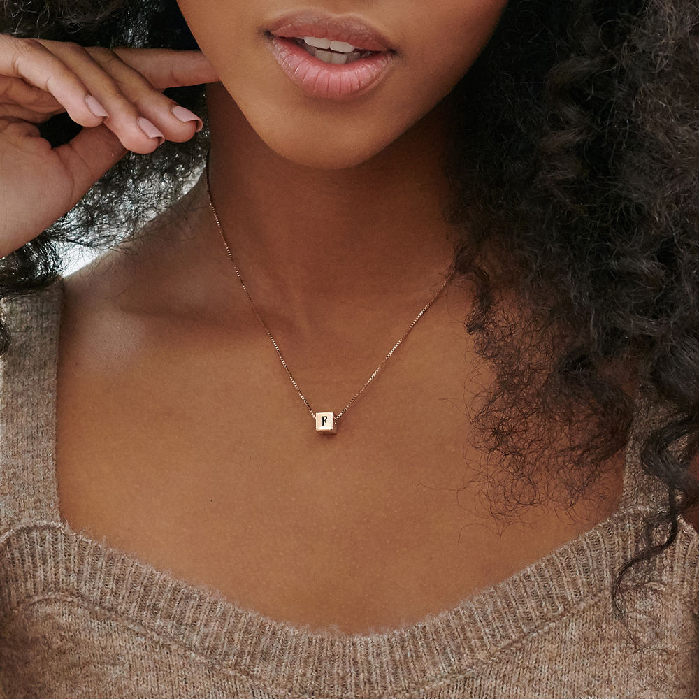 Blair Initial Cube Necklace in Rose Gold Plating - 3