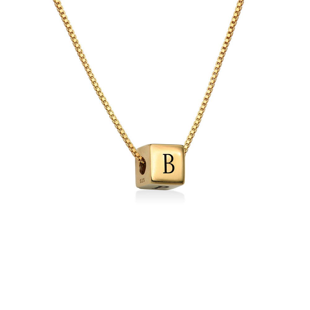 Blair Initial Cube Necklace in Gold Vermeil - 1