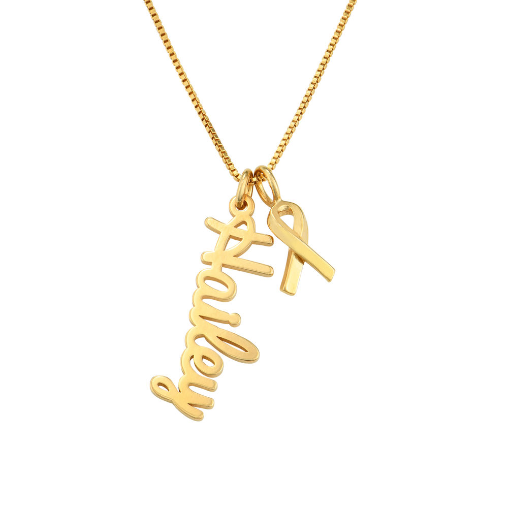 Breast Cancer Awareness Name Necklace in Gold Plated