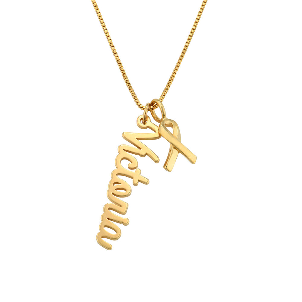 Breast Cancer Awareness Name Necklace in Gold Vermeil