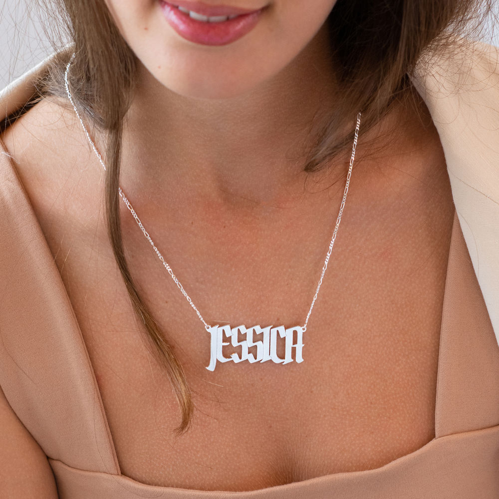 Large Custom Name Necklace in Sterling Silver - 1