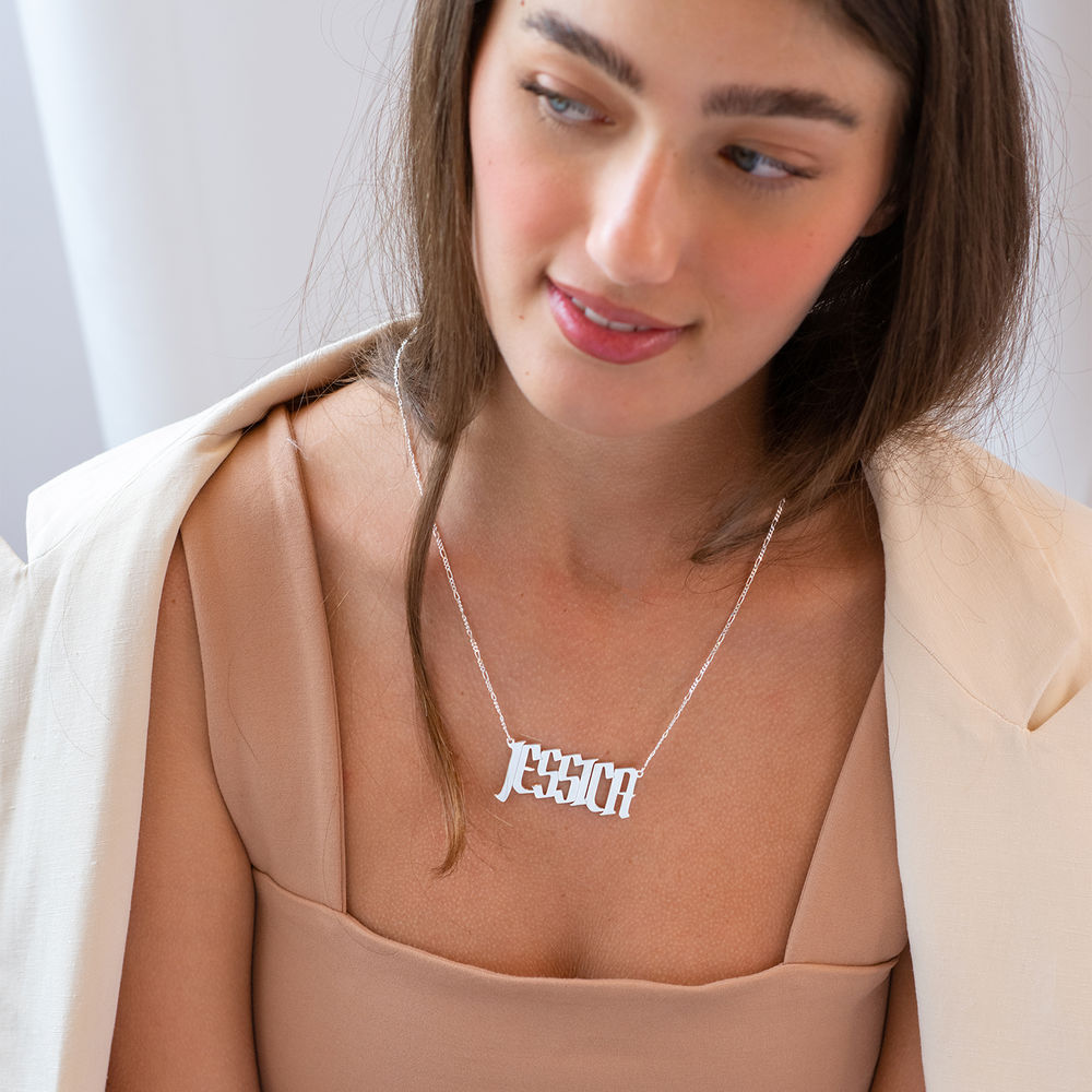 Large Custom Name Necklace in Sterling Silver - 2